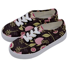 Flowers Wallpaper Floral Decoration Kids  Classic Low Top Sneakers by Nexatart
