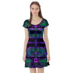Abstract Pattern Desktop Wallpaper Short Sleeve Skater Dress