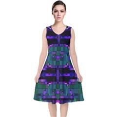 Abstract Pattern Desktop Wallpaper V Neck Midi Sleeveless Dress