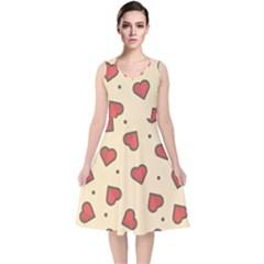Design Love Heart Seamless Pattern V Neck Midi Sleeveless Dress