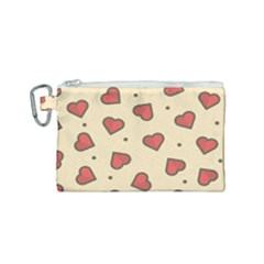 Design Love Heart Seamless Pattern Canvas Cosmetic Bag (small) by Nexatart