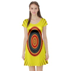 Art Decoration Wallpaper Bright Short Sleeve Skater Dress