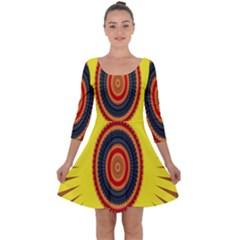 Art Decoration Wallpaper Bright Quarter Sleeve Skater Dress