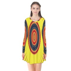 Art Decoration Wallpaper Bright Long Sleeve V Neck Flare Dress