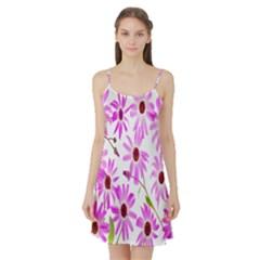 Pink Purple Daisies Design Flowers Satin Night Slip