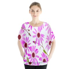 Pink Purple Daisies Design Flowers Blouse
