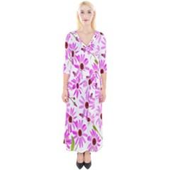 Pink Purple Daisies Design Flowers Quarter Sleeve Wrap Maxi Dress