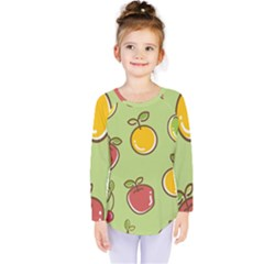 Seamless Pattern Healthy Fruit Kids  Long Sleeve Tee