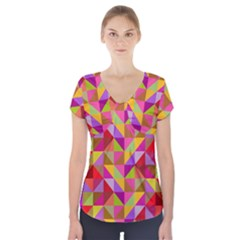 Geometric Short Sleeve Front Detail Top