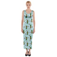Pineapple Watermelon Fruit Lime Fitted Maxi Dress