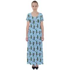 Pineapple Watermelon Fruit Lime High Waist Short Sleeve Maxi Dress by Nexatart