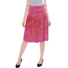Pink Background Abstract Texture Midi Beach Skirt