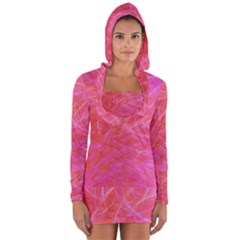 Pink Background Abstract Texture Long Sleeve Hooded T Shirt