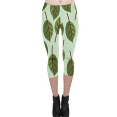 Design Pattern Background Green Capri Leggings