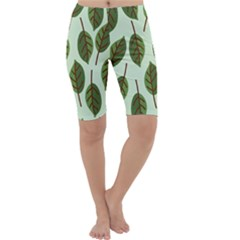 Design Pattern Background Green Cropped Leggings