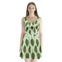 Design Pattern Background Green Split Back Mini Dress