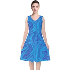 Abstract Pattern Art Desktop Shape V Neck Midi Sleeveless Dress