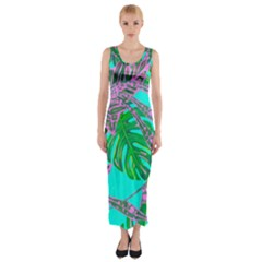 Painting Oil Leaves Nature Reason Fitted Maxi Dress