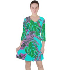 Painting Oil Leaves Nature Reason Ruffle Dress