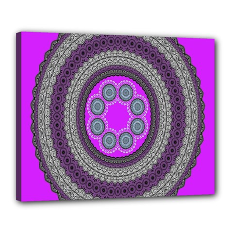 Round Pattern Ethnic Design Canvas 20  X 16