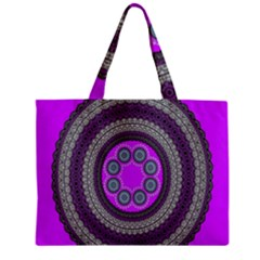Round Pattern Ethnic Design Zipper Mini Tote Bag