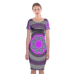 Round Pattern Ethnic Design Classic Short Sleeve Midi Dress