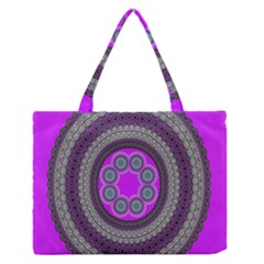 Round Pattern Ethnic Design Zipper Medium Tote Bag