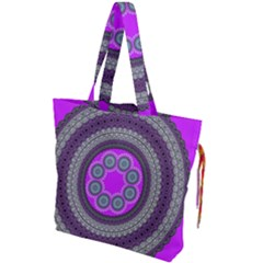 Round Pattern Ethnic Design Drawstring Tote Bag by Nexatart