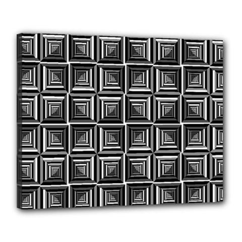 Pattern Op Art Black White Grey Canvas 20  X 16