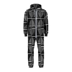 Pattern Op Art Black White Grey Hooded Jumpsuit (kids)
