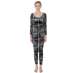 Pattern Op Art Black White Grey Long Sleeve Catsuit