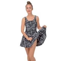 Pattern Op Art Black White Grey Inside Out Casual Dress