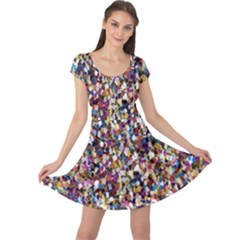 Pattern Abstract Decoration Art Cap Sleeve Dress