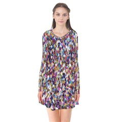 Pattern Abstract Decoration Art Long Sleeve V Neck Flare Dress