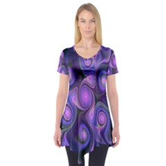 Abstract Pattern Fractal Wallpaper Short Sleeve Tunic