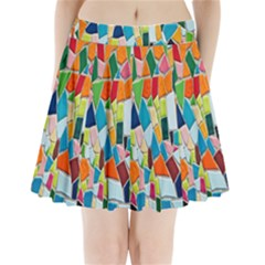 Mosaic Tiles Pattern Texture Pleated Mini Skirt