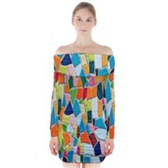 Mosaic Tiles Pattern Texture Long Sleeve Off Shoulder Dress