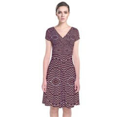 Design Pattern Abstract Short Sleeve Front Wrap Dress