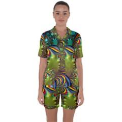 Amazing Fractal 5182 Satin Short Sleeve Pyjamas Set