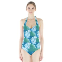 Palm Trees Tropical Beach Coastal Summer Blue Green Halter Swimsuit by CrypticFragmentsColors