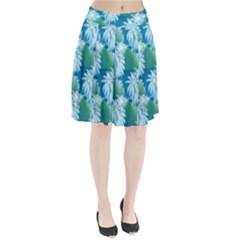 Palm Trees Tropical Beach Coastal Summer Blue Green Pleated Skirt
