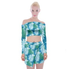 Palm Trees Tropical Beach Coastal Summer Blue Green Off Shoulder Top With Mini Skirt Set