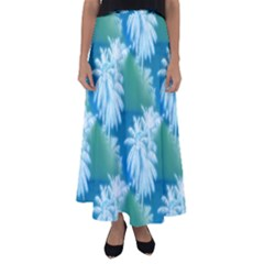 Palm Trees Tropical Beach Coastal Summer Blue Green Flared Maxi Skirt