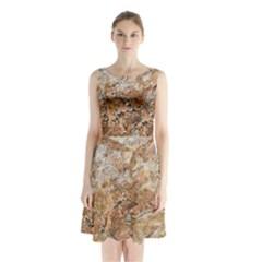 Granite 0533 Sleeveless Waist Tie Chiffon Dress