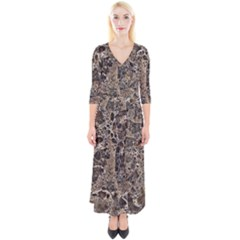 Granite 0525 Quarter Sleeve Wrap Maxi Dress