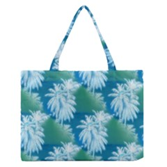 Palm Trees Tropical Beach Coastal Summer Blue Green Zipper Medium Tote Bag