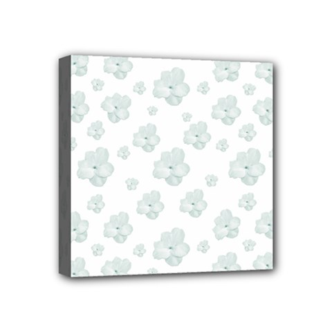 Pastel Floral Motif Pattern Mini Canvas 4  X 4