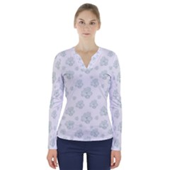 Pastel Floral Motif Pattern V Neck Long Sleeve Top