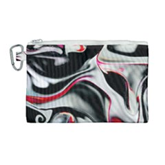 Pink And Black Smokey Design By Kiekie Strickland Canvas Cosmetic Bag (large)