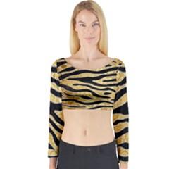 Golden Vector Embossed Golden Black Zebra Stripes Long Sleeve Crop Top